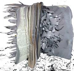 livre, sculpture, papier, yo